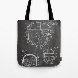 Football Helmet Patent - Football Art - Black Chalkboard Tote Bag
