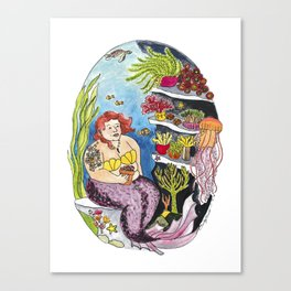 House Plant Loving Mermaid Canvas Print