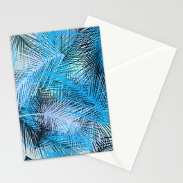 Jungle pampa blue forest. Tropical fresh forest pattern with palms Stationery Cards