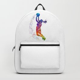 Girl Basketball Player Colorful Watercolor Sports Gift Olympics Game Backpack