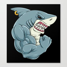 Shark At The Gym | Fitness Training Muscles Canvas Print