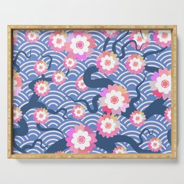 Sakura flowers Nature background with blossom branch of pink flowers. Cherry tree branches japanese Serving Tray