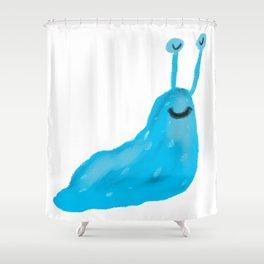 Blue Slug Shower Curtain