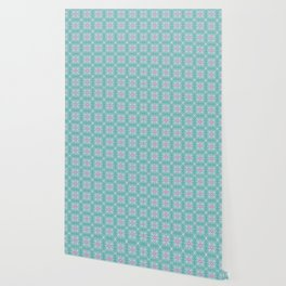 Ice Blue Pink Flower Christmas Pattern Wallpaper