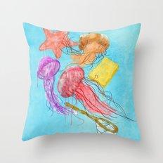 Realism on Jellyfish Fields Throw Pillow