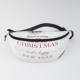 Merry Christmas Modern Holiday Greeting White Fanny Pack