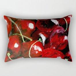 Cherries - Still Life In Acrylics Original Fine Art Rectangular Pillow