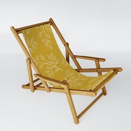 White Branch and Leaves on Mustard Yellow Sling Chair