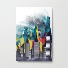 New York City Skyscrapers In Watercolor Art, Travel Digital Download, New York Poster, Wall Art Home Metal Print