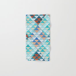 Triangle Pattern No.10 Shifting Turquoise and Orange Hand & Bath Towel
