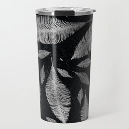 Abstract Silver on black Feather pattern Travel Mug