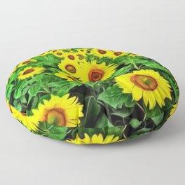 Sunflower Fields Forever, Landscape Painting by Jeanpaul Ferro Floor Pillow