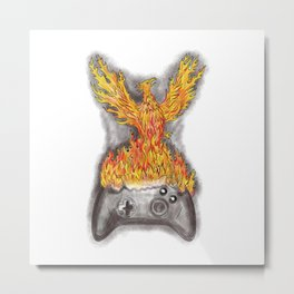 Phoenix Rising Over Game Controller Tattoo Metal Print