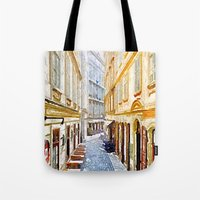 vienna Tote Bags featuring vienna, watercolors by MehrFarbeimLeben