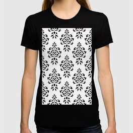 Crest Damask Repeat Pattern Black on White T-shirt
