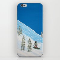 snowboarding iPhone & iPod Skins featuring Snowboarding by N_T_STEELART