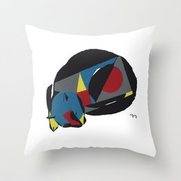 abstract sleeping cat (silkscreen) Throw Pillow