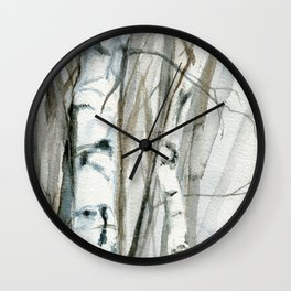 Winter Birch Trees Woodland Watercolor Original Art Print Wall Clock