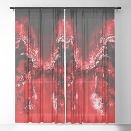 wolves hate monday splatter watercolor red Sheer Curtain