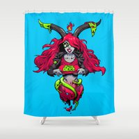 baphomet Shower Curtains featuring Pizza Beast by Kyle Harlan