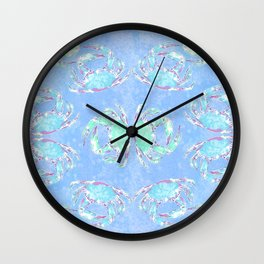 Watercolor blue crab Wall Clock