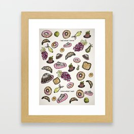 cakes donuts and fruits Framed Art Print