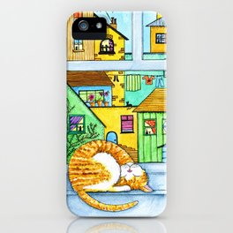 Ginger & White Cat at the Window iPhone Case