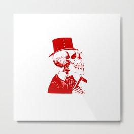 Skeleton in a Top Hat Metal Print