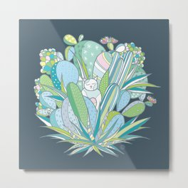 The cat in love with a Cactus Metal Print