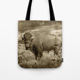 American Buffalo in Sepia Tone Tote Bag