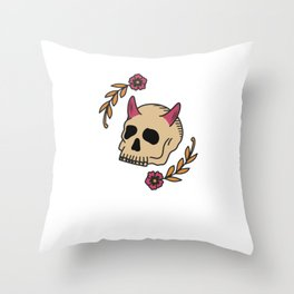 Anti Valentines Day Skull Cupid Love - Still Single - Retro Vintage Art Tattoo Design Throw Pillow