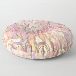 Glowing Coral and Amethyst Art Deco Pattern Floor Pillow