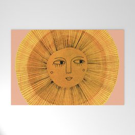 Sun Drawing Gold and Pink Welcome Mat