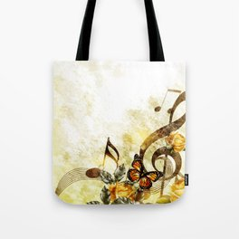 Butterfly Music Notes Tote Bag