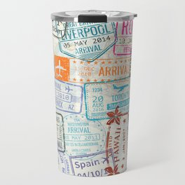 Vintage World Map with Passport Stamps Travel Mug
