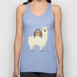 Cute & Funny Sloth Riding Llama Unisex Tank Top