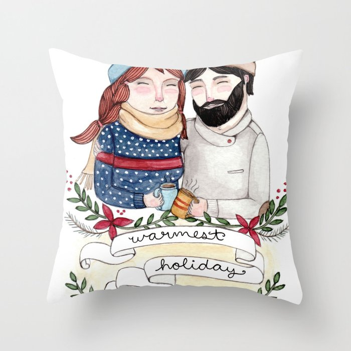 Warmest Holiday Wishes Throw Pillow