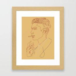 Man Smoking Line Art Framed Art Print