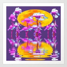 PURPLE-WHITE IRIS & MOON WATER GARDEN  REFLECTION Art Print