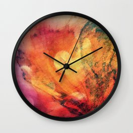 A leaf In The Wood Aflame Abstract Wall Clock