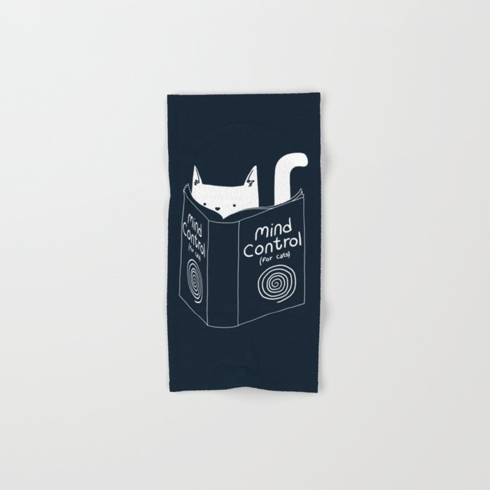 Mind Control For Cats (dark blue) Hand & Bath Towel