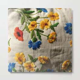 Flowers stitched Metal Print