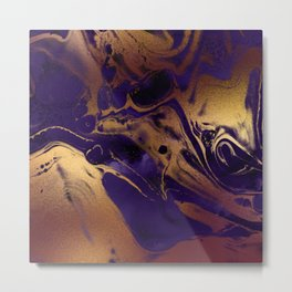 Purple and Gold Marble effect Metal Print