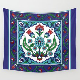 Turkish Tile Pattern – Vintage iznik ceramic with tulips Wall Tapestry