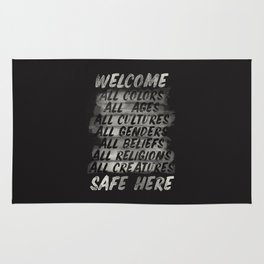All welcome, people are safe here, human rights, ,fight injustices, equality, justice, peace quote Rug
