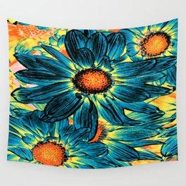 Pop Art Daisies Teal Orange Yellow Wall Tapestry