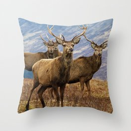 The four stags on the loch Throw Pillow