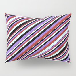 Black, Purple, Brown, and Light Cyan Colored Stripes/Lines Pattern Pillow Sham