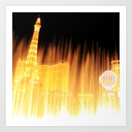 The golden fountains of Bellagio in Vegas Art Print