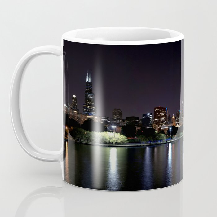 Chicago night skyline with fireworks, Usa. Coffee Mug